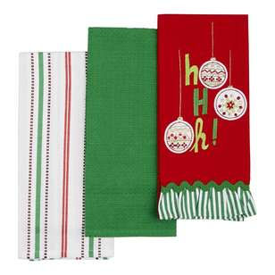 Living Space Festive Ho Ho Oh Tea Towel 3 Pack