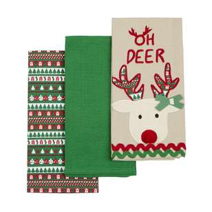 Living Space Festive Oh Deer Tea Towel 3 Pack