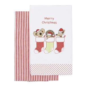 Christmas By Ladelle Aussie Stocking Tea Towel 2 Pack