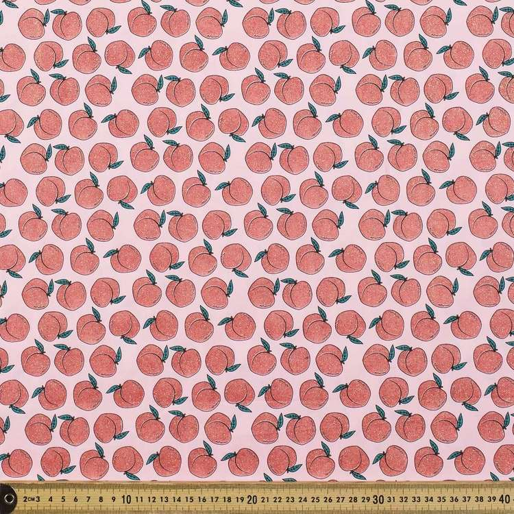 Glitter Peach Printed Cotton Poplin Fabric