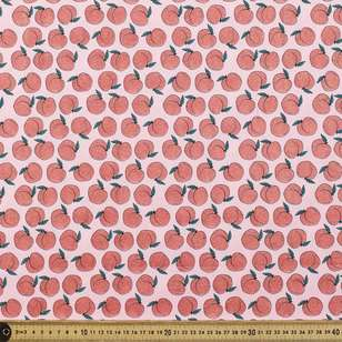 Glitter Peach Printed Cotton Poplin Fabric