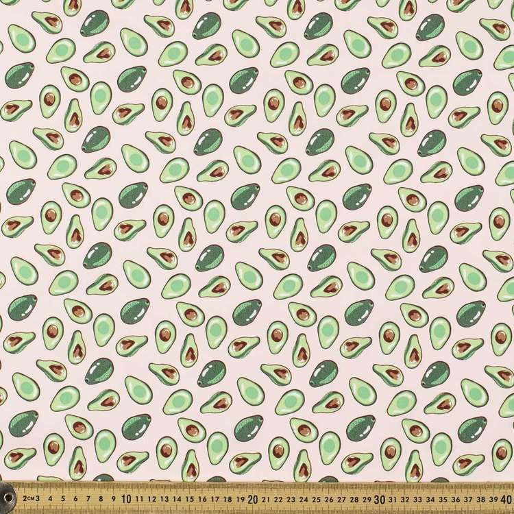 Avocado Blush Printed Cotton Poplin Fabric