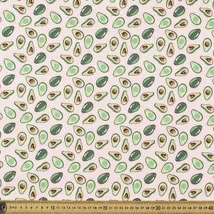 Avocado Blush Printed Cotton Poplin Fabric