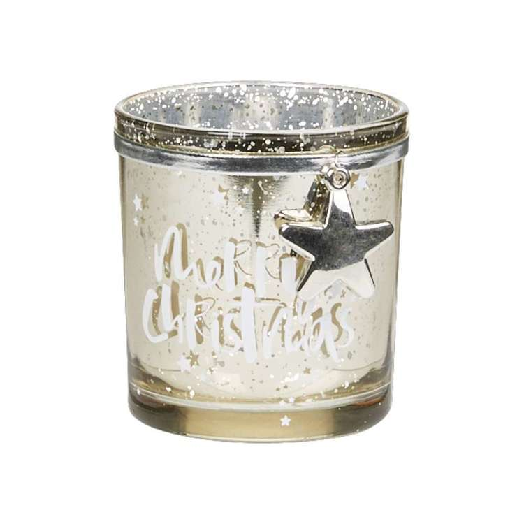Living Space Merry Xmas Print Candle Holder