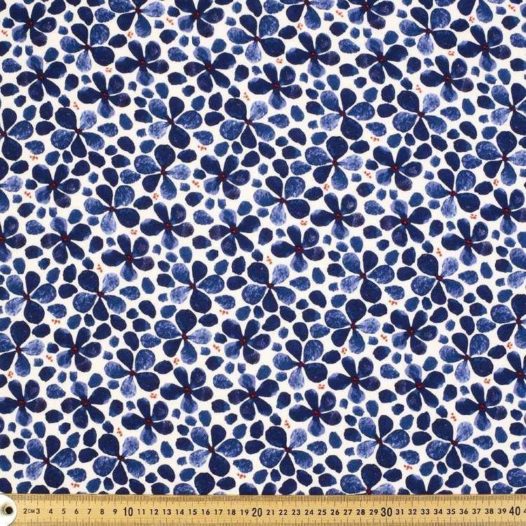 Flower Printed Cotton Linen Jersey Fabric