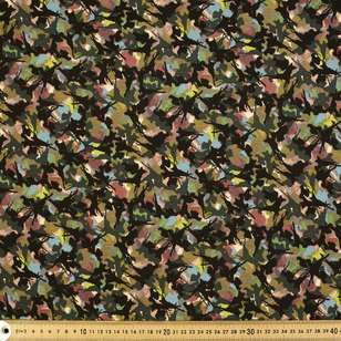 Abstract Camouflage Printed Cotton Linen Jersey Fabric