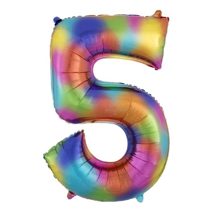 Rainbow Splash Number 5 Foil Balloon