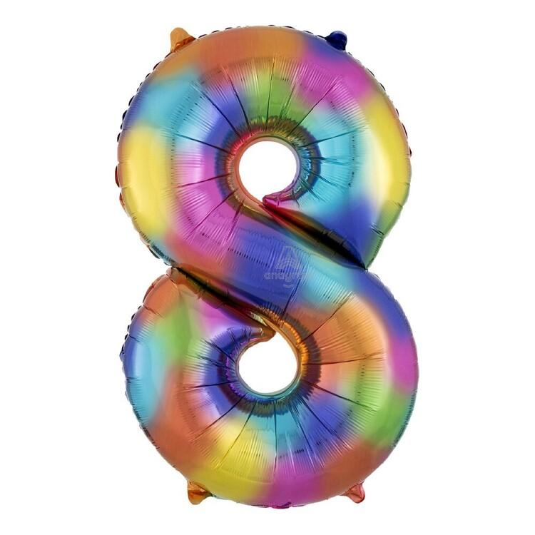 Rainbow Splash Number 8 Foil Balloon