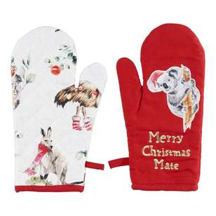 Living Space Festive Aussie Mate 2 Pack Oven Glove