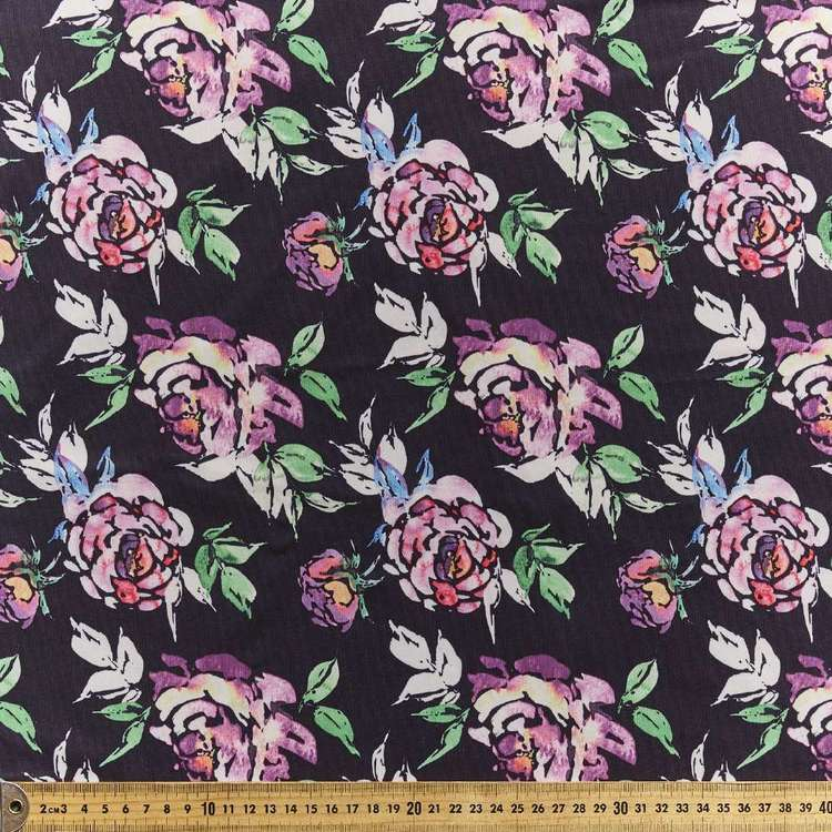 Watercolour Flower Printed Power Hold Stretch Fabric