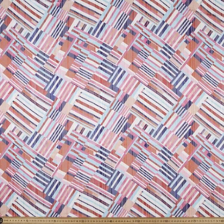 Watercolour Lines Printed Chiffon Lurex Fabric Multicoloured 148 cm