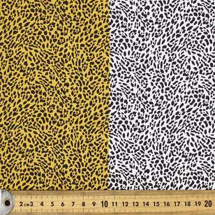 Cheetah Printed Poly Satin Fabric With Border