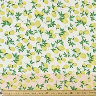 Lemon Printed Poly Satin Fabric