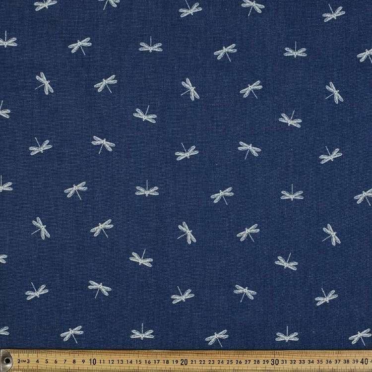 Dragonfly Printed Denim Fabric