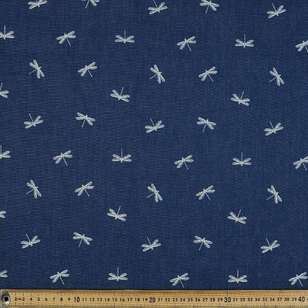Dragonfly Printed Denim Fabric