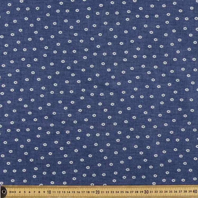Daisy Dot Printed Denim Fabric