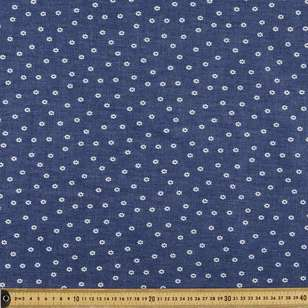 Daisy Dot Printed Denim Fabric