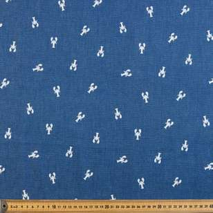 Lobsters Printed Denim Fabric