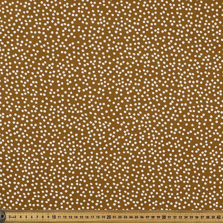Busy Spot Printed Cotton Linen Fabric Mustard 132 cm
