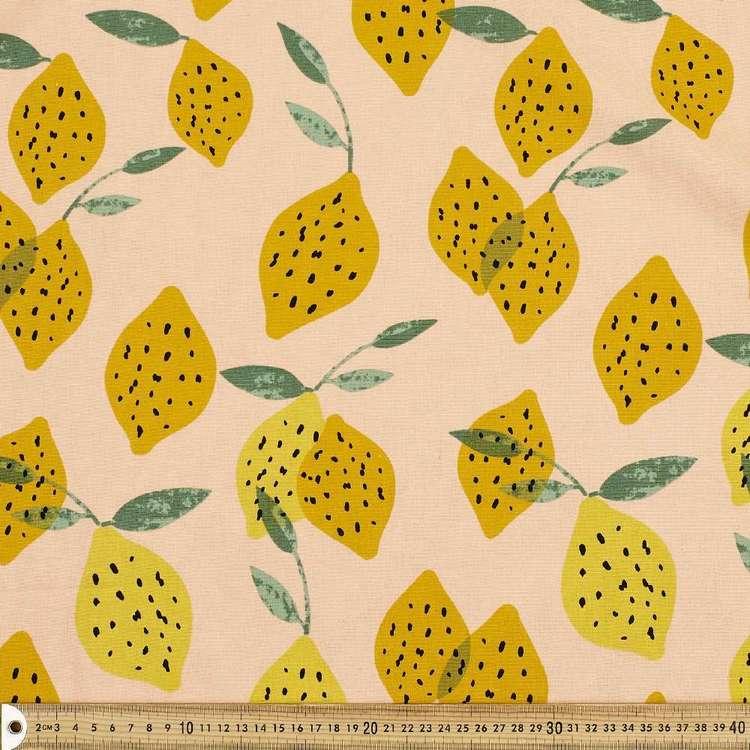 Spot Of Lemon Printed Cotton Linen Fabric