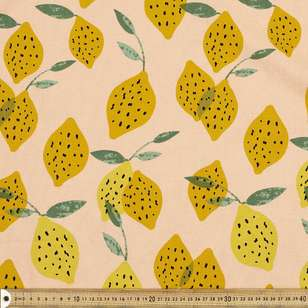 Spot Of Lemon Printed Cotton Linen Fabric