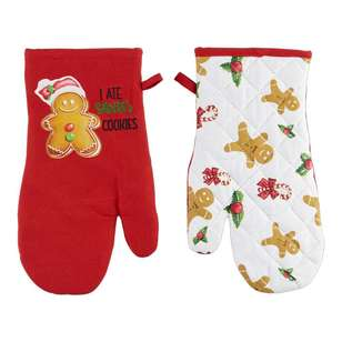 Living Space Festive Santa Cookie Oven Glove 2 Pack