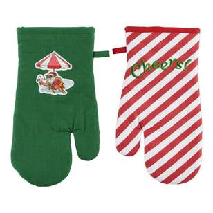 Living Space Festive Cheers Oven Glove 2 Pack
