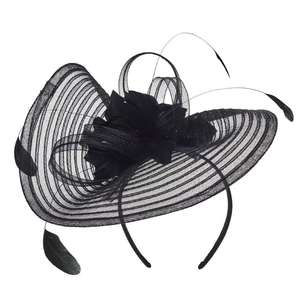 Maria George Striped Crinoline Fascinator With Flowers