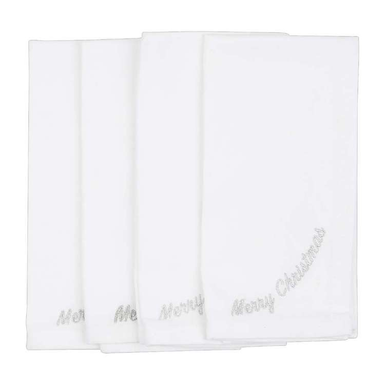 Living Space Festive Merry Embroidered Napkins 4 Pack