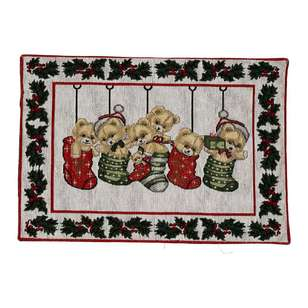 Living Space Festive Bears Tapestry Placemat