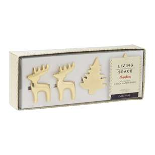 Living Space Festive Christmas Napkin Rings 4 Pack