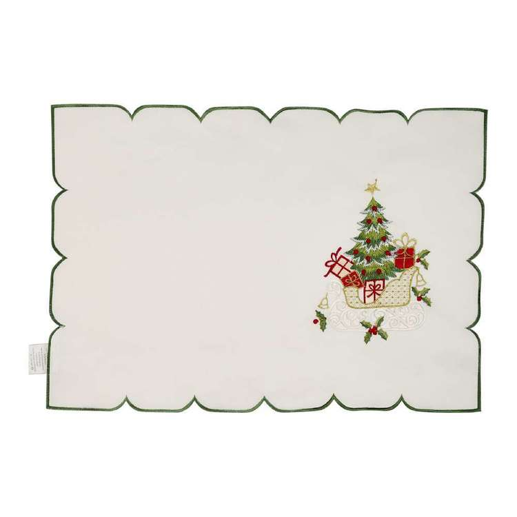 Living Space Festive Sleigh Embroidered Placemat