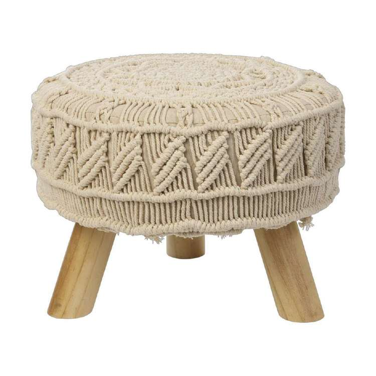 Ombre Home Boho Bloom Macrame Footstool