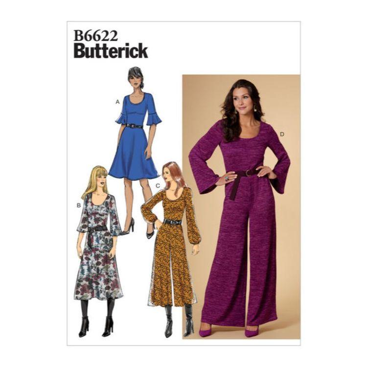 Butterick Pattern 6622 Misses Dress and Jumpsuit