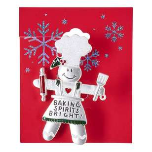 Snowman Chef Christmas Brooch