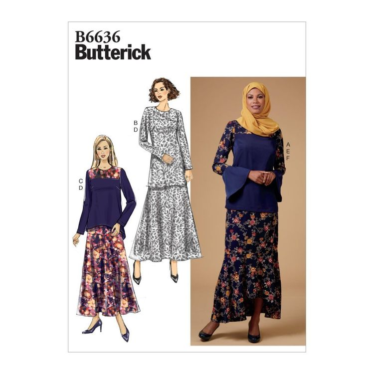 Butterick Pattern 6636 Misses' Top, Tunic, Skirt and Scarf