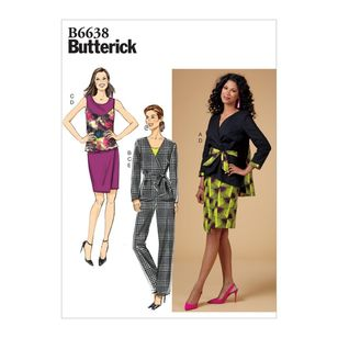 Butterick Pattern 6638 Misses' Jacket, Top, Skirt, Pants and Sash