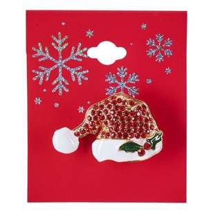 Santa Hat Christmas Brooch