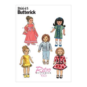 "Butterick Pattern 6645 Retro Clothes For 18"" Doll"