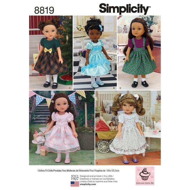 "Simplicity Pattern 8819 14"" Doll Dresses"