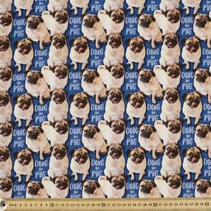 Doug The Pug Digital Allover Cotton Fabric