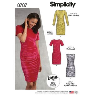 Simplicity Pattern 8787 Misses' Learn-to-Sew Knit Dress