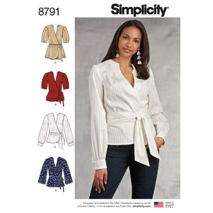 Simplicity Pattern 8791 Misses' Wrap Tops