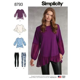 Simplicity Pattern 8793 Misses' Tunic with Knit Leggings