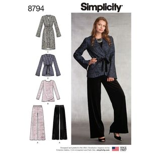 Simplicity Pattern 8794 Misses' Jackets, Top, and Pants
