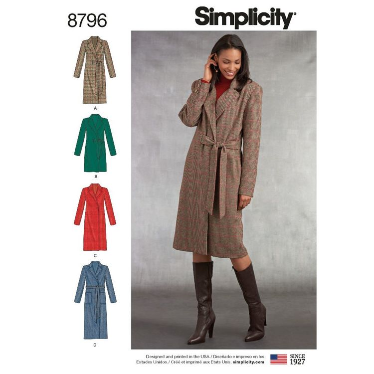 Simplicity Pattern 8796 Misses'/ Miss Petite Lined Coats
