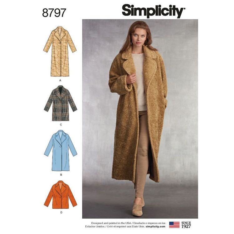 Simplicity Pattern 8797 Misses' Loose-Fitting Lined Coat