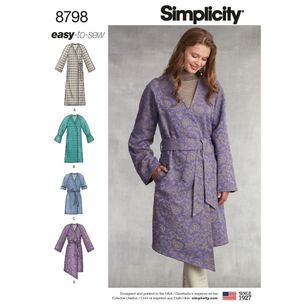 Simplicity Pattern 8798 Misses' Unlined Coat with Tie Belt