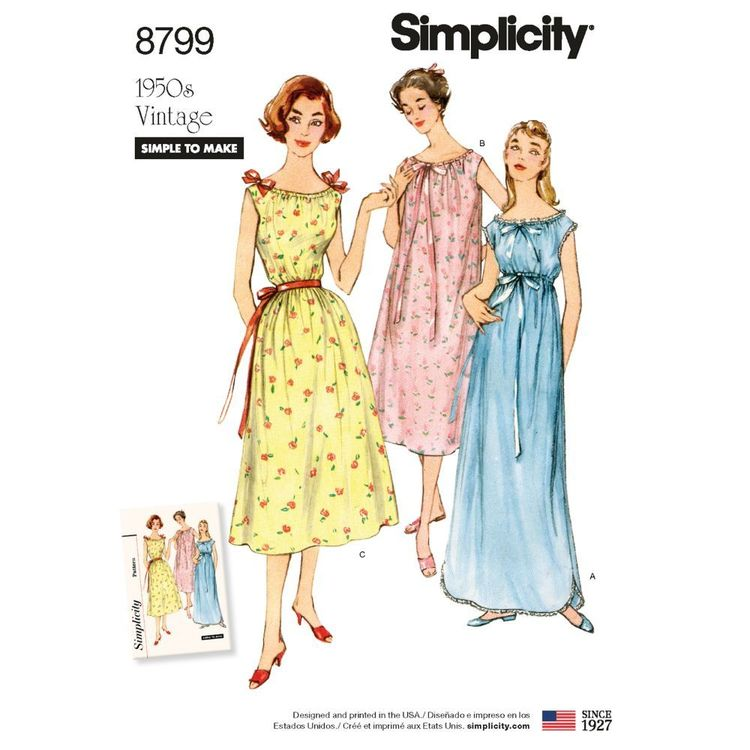 Simplicity Pattern 8799 Misses' Vintage Nightgowns