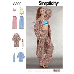 Simplicity Pattern 8800 Misses' Robe, Pants, Top and Bralette